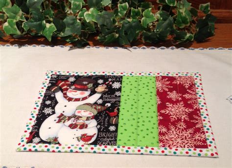 snowman rugs quilted mug rug snowman candle mat
