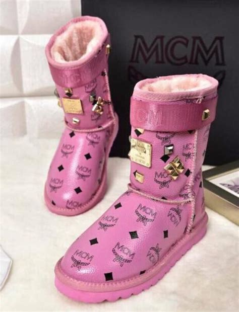 mcm kid shoes mcm monogram snow fur boots gift box 18k gold plated