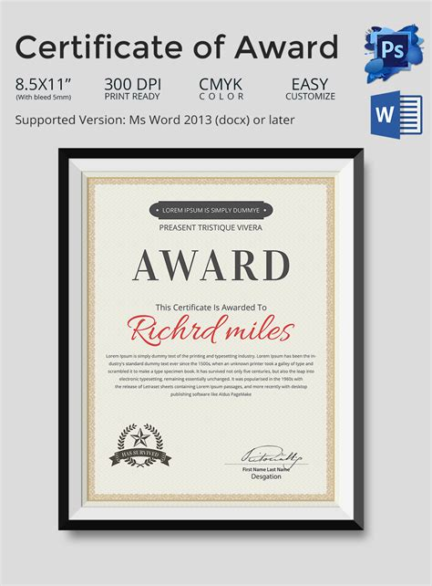 template for certificate of award 33 psd certificate templates free psd format