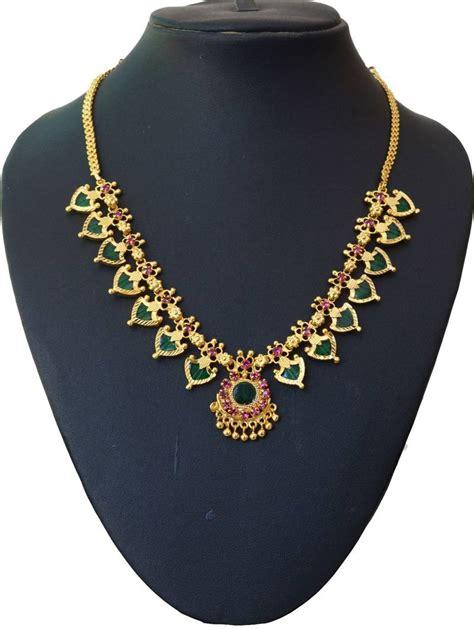 Of Necklace buy green palakka necklace with fourteen palakka