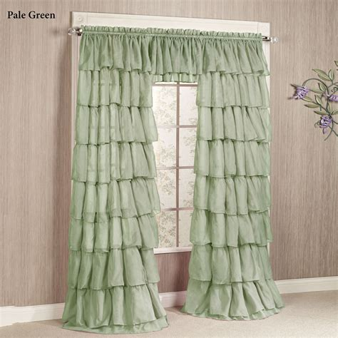 ruffle curtain panel gypsy sheer voile ruffled curtain panels polyvore