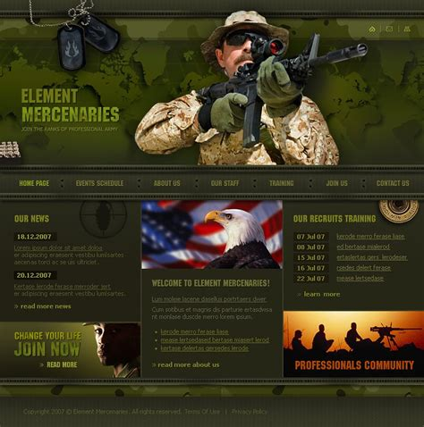 military website template web design templates website