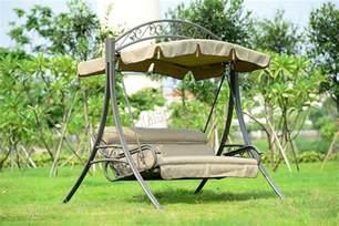 patio swing foxhunter garden metal swing hammock 3 seater chair bench