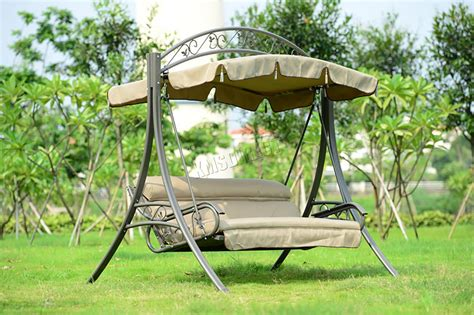 outdoor swing bench foxhunter garden metal swing hammock 3 seater chair bench