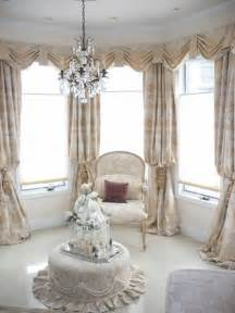 Gorgeous Curtains And Draperies Decor Drapery Panels A K A Bishop Sleeve Style With Swag Valances In Bay Window Drapery Styles