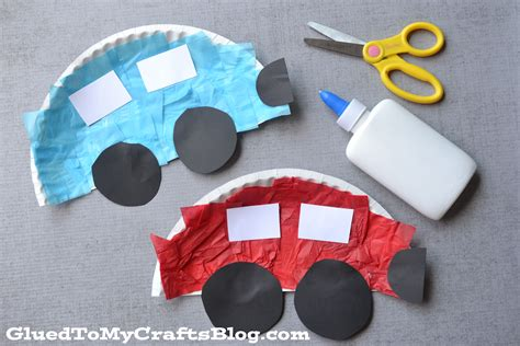 Paper Car Craft - paper plate cars kid craft glued to my crafts