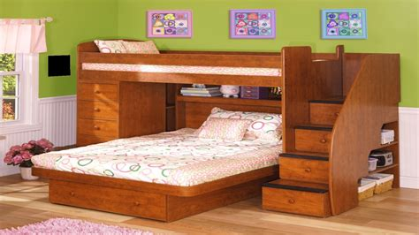 bunk bedroom set multifunction brown wooden furniture with two bed and