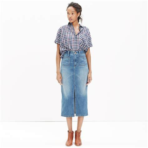 madewell denim midi skirt in blue lyst