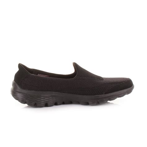 all black walking shoes womens skechers go walk2 all black lightweight comfort