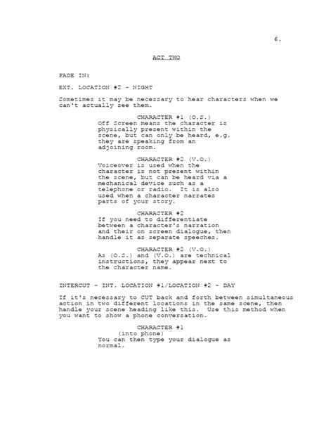 Screenplay Templates by Screenplay Template For Tv Shows Free
