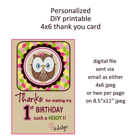 printable owl birthday card printable diy owl first birthday theme thank by