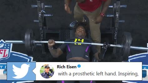 one handed bench press one handed linebacker prospect shaquem griffin posted an insane bench press total at