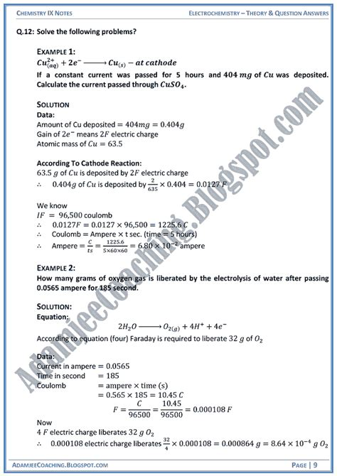 Theory Notes Mba by Adamjee Coaching Electrochemistry Theory Notes And