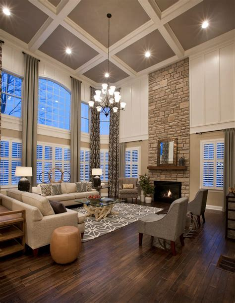 Awesome Living Room With High Ceilings Decorating Ideas #2: Floor-to-ceiling-fireplace-design-ideas-living-room-traditional-with-coffered-ceiling-stone-wall-glass-top-coffee-table.jpg
