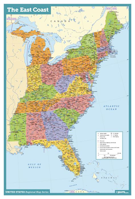 map  east coast usa states  cities map united states
