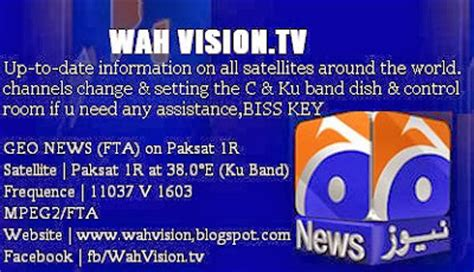 welcome to wah vision: geo news (fta) paksat 1r at 38.0°e
