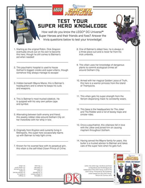 printable superhero quiz questions and answers take this quiz and test your super hero knowledge lego