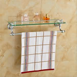 Bathroom Glass Shelves With Towel Bar Chrome Polished Bathroom Glass Shelf Wall Mount Cosmetic Holder With Towel Bar Vasos For