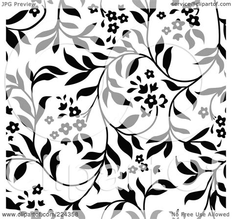 floral pattern background black and white free royalty free rf clipart illustration of a black and