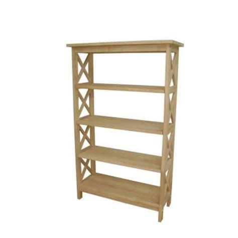 international concepts unfinished x sided 4 shelf bookcase