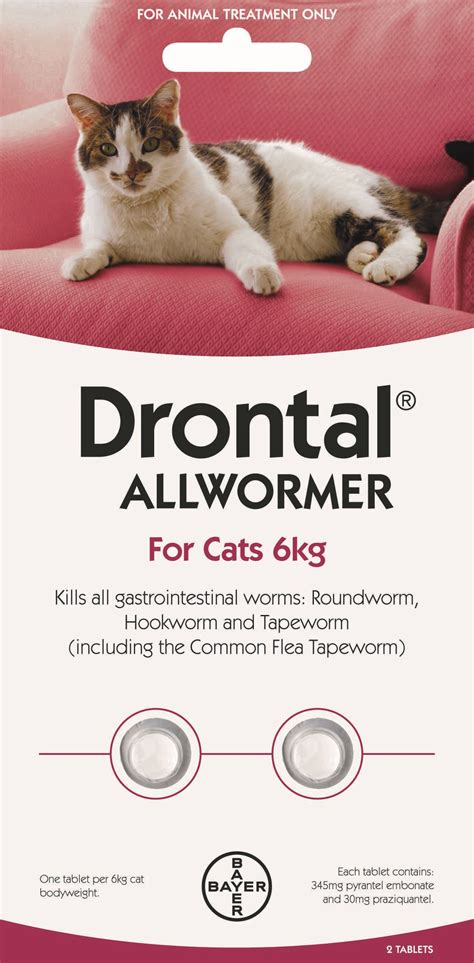 Drontal For drontal allwormer for cats 6kg bayer animal health nz