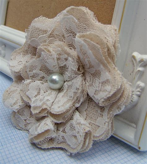 lace shabby chic fabric flowers set of 2 by curtseyboutique