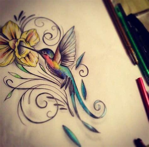 tattoo flower into birds humming bird and flower tattoo tattoos pinterest