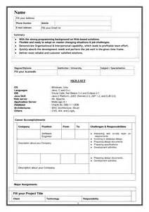 Model Of Resume Format by Resume Model Vitae
