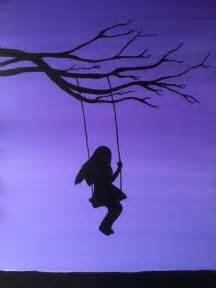 girl on a swing painting girl on swing painting swinging tree silhouette handmade