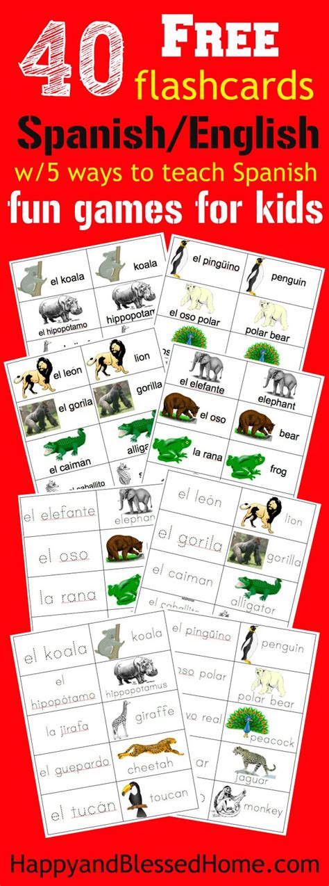 animals flashcards it s fun to learn 40 free spanish english flashcards of jungle animals and 5