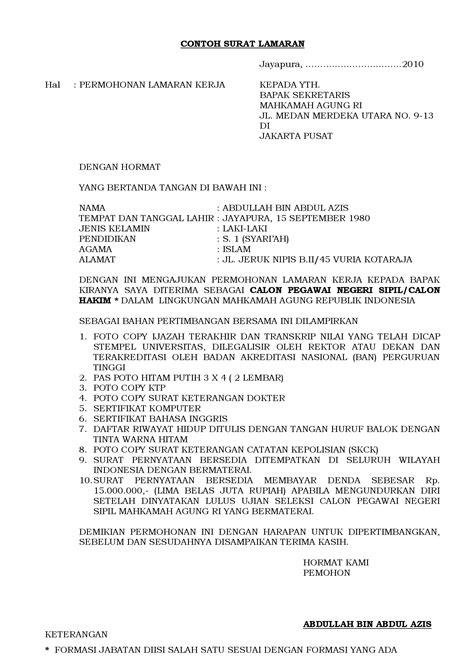 Contoh Surat Lamaran Jaksa Agung Ri by Contoh Surat Lamaran Dokumen Tips