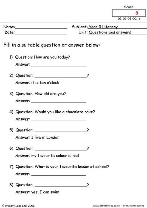 Spreadsheet Questions And Answers by Questions And Answers Primaryleap Co Uk