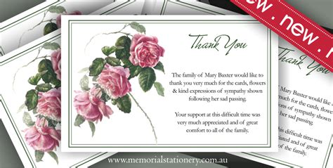 New Personalized Antique Tea Rose Sympathy Thank You Card