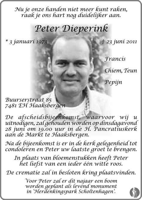 Peter Dieperink 23-06-2011 overlijdensbericht en