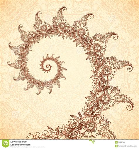 vector fractal spiral in henna tattoo style stock vector