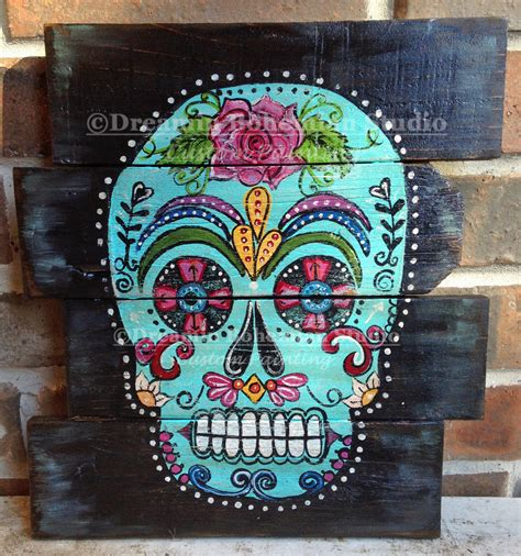 dia de los muertos bedroom sugar skull artwork wood pallet built turquoise dia