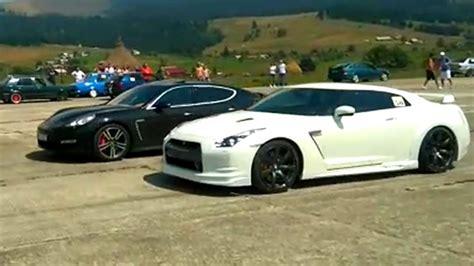 Nissan Gtr Vs Porsche by Loud Nissan Gtr Vs Porsche Panamera Drag Race Floreni 2016