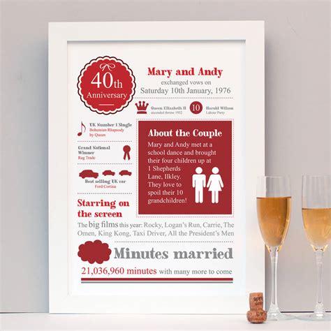 Wedding Anniversary Gifts Ireland by Ruby Wedding Anniversary Gifts Ireland Lamoureph