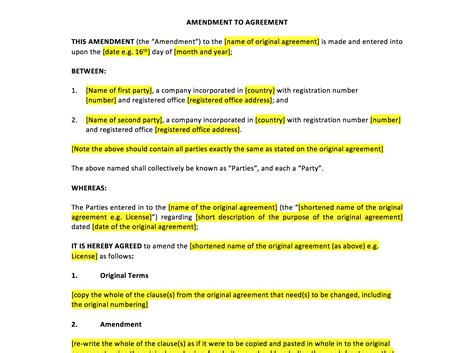 Amendment To Agreement Template Uk Template Agreements And Sle Contracts Employment Contract Amendment Template