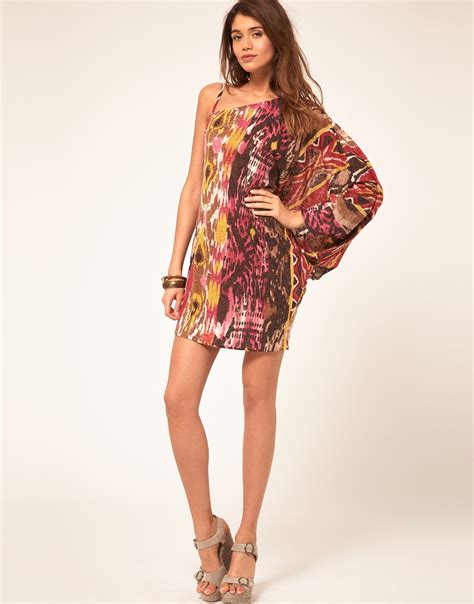 Miss Sixty Dress lyst miss sixty asymmetric dress with tribal print in pink