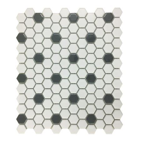 10 In Hexagon Floor Black And White - glossy white black floor tile porcelain mosaic hexagon 1