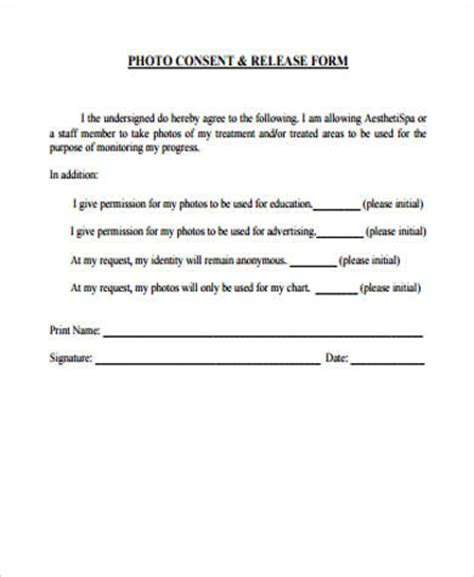 Photography Permission Form Template by 9 Photo Consent Form Sles Sle Templates