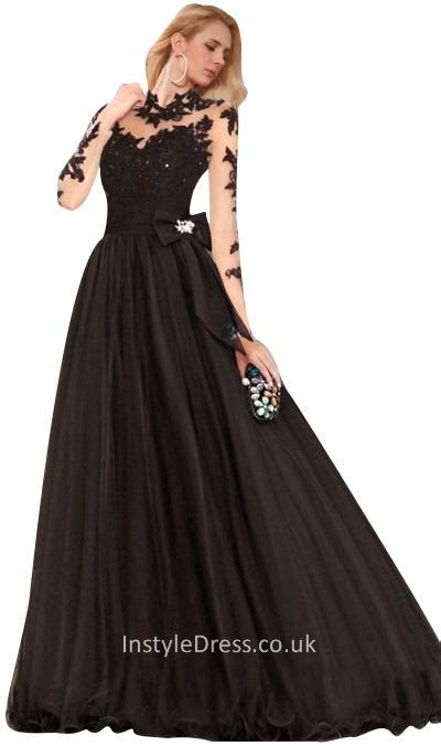 45791 Black Wide Sleeve S M L Dress gown black illusion neck embroidered vintage prom
