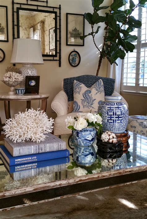 blue and white home decor tg interiors coffee table styling