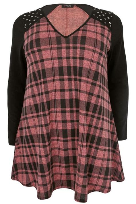 check swing rule pink black checked longline swing top with eyelet
