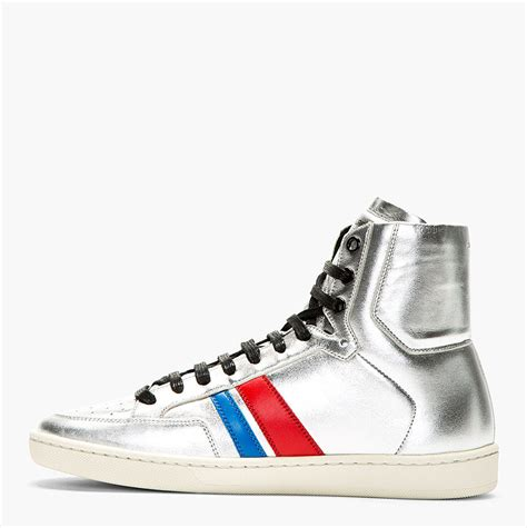 silver high top sneakers laurent silver metallic leather high top sneakers