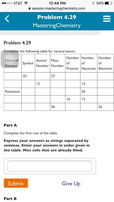 complete the following table solved complete the following table for neutral atoms pa