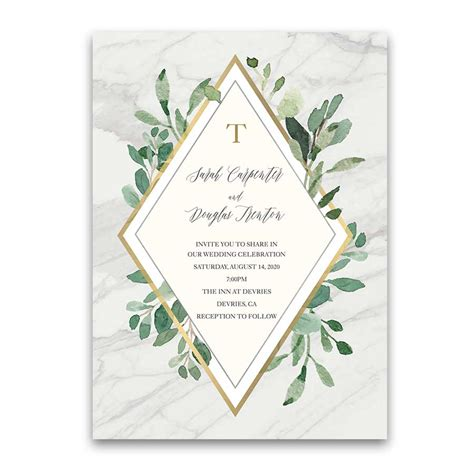 Wedding Invitations Greenery by Marble Wedding Invitations With Greenery Eucalyptus Gold