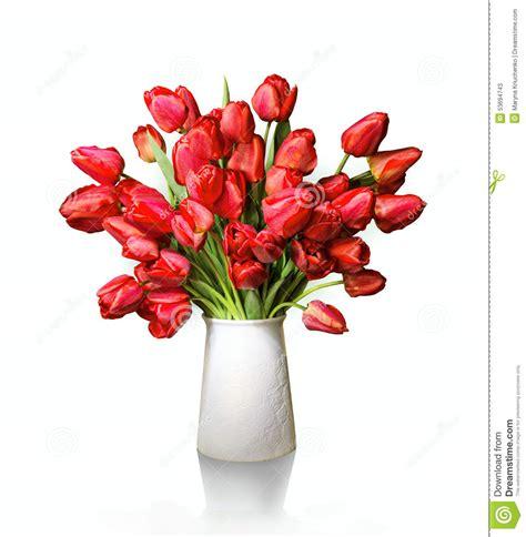 tulipani in vaso mazzo dei tulipani in vaso bianco fotografia stock