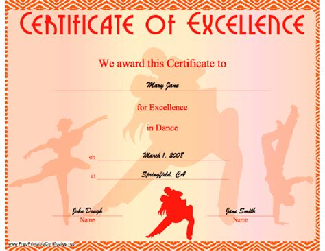 a certificate of excellence in dancing illustrated with